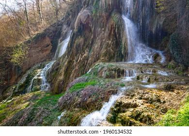 Thermal water waterfall in Geoagiu, Transylvania, Romania