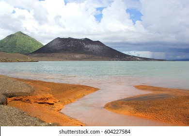 Thermal Waters Flowing into the Bay across from Mount Tavurvur Volcano Near Rabaul.