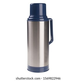 Thermo or Thermo flask from stainless steel on background new