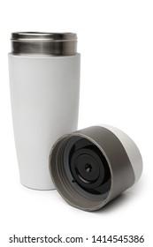 Thermo mug on white background