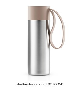 Thermo Water Bottle Isolated on White. Stainless Steel Thermos with Double Walls Front View. Silver Insulated Drinking Cups. Modern Travel Mug. Tumbler Beverage Container. Home & Kitchen