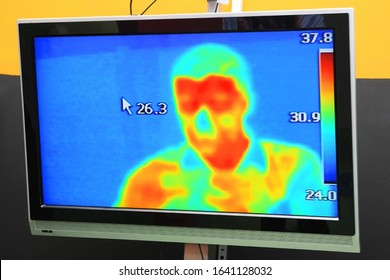 Thermographic camera monitoring Pandemic Covid-19 of Coronavirus Sars-CoV-2