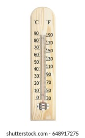 Thermometer with 0 degree celsious or 32 degree farenheit isolated on white background