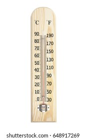 Thermometer with 40 degree celsious or 104 degree farenheit isolated on white background