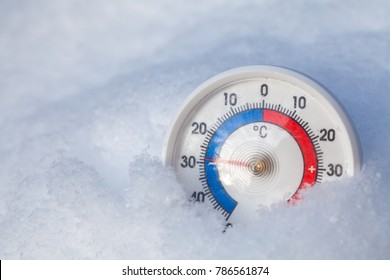 Thermometer with celsius scale placed in a fresh snow showing sub-zero temperature minus 29 degree - extreme cold winter weather concept
