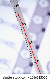 Thermometer close up with background