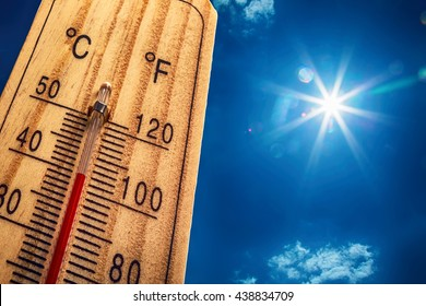 Thermometer displaying high 40 degree hot temperatures in sun summer day.