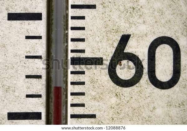 Thermometer at fifty four degrees, also showing a large number sixty