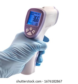 Thermometer Gun Isometric Medical Digital Non-Contact Infrared Sight Handheld Forehead Readings. Temperature Measurement Device isolated on white background