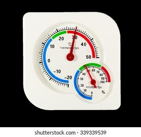 Thermometer hygrometer on black background