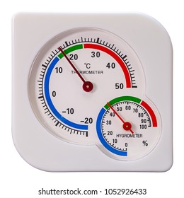 Thermometer and hygrometer shows a comfortable temperature and humidity, isolated on white