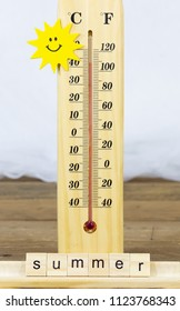 Thermometer marking more than 40 degrees in summer