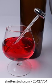 The thermometer for measurement of temperature of wine