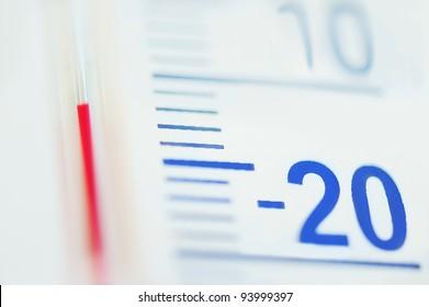 Thermometer minus degree temperature in cold winter.