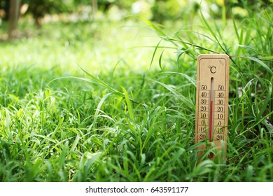 thermometer on green grass with hot temperature at environment in Thailand