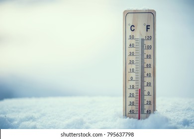 Thermometer on snow shows low temperatures in celsius or farenheit.