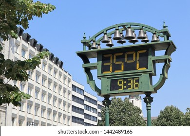 Thermometer on the street in summer time