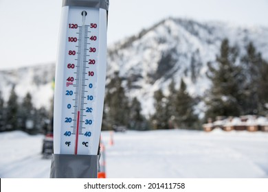 thermometer on sub-freezing winter day in yellowstone national park