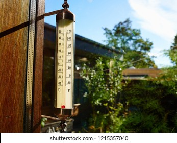 Thermometer on the window with beautiful blureed garden background perfect to add text and graphics