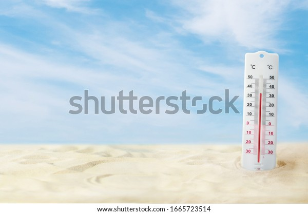 The thermometer outside during the summer, background