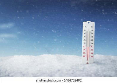 The thermometer outside during the winter, background