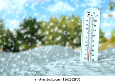 Thermometer show subzero temperature on snow in cold season, cold concept