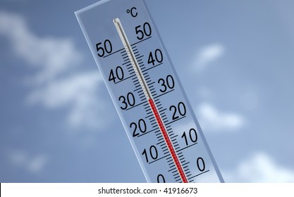a thermometer showing thirty with sky background