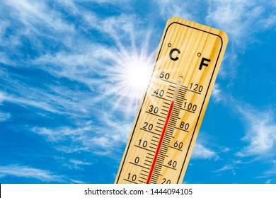 thermometer shows 40 degrees in summer heat