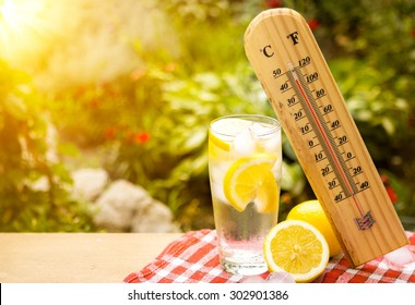thermometer shows a high temperature during heat wave