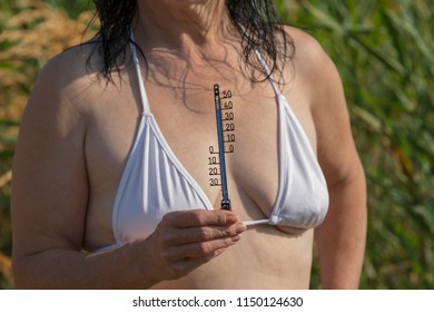 Thermometer in summer heat