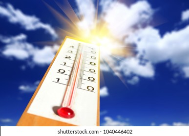 Thermometer with sunshine over blue sky