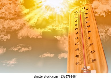 Thermometer in very hot day, high temperature or warm environment  concept,