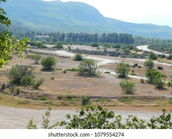 Thermopylae, view of the battlefield of the famous 480 BC battle from the Kolonos hill where the Greeks made their last stand