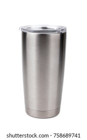 thermos bottle, Tumbler glass on white background