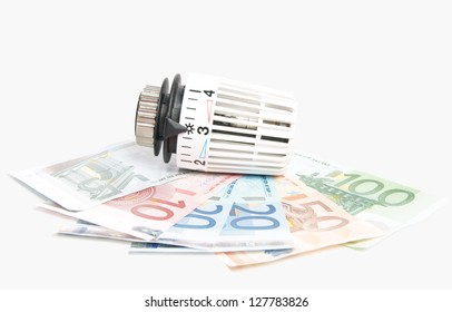 Thermostat with euro banknotes / heating costs