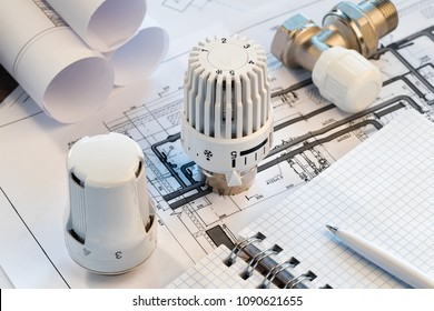 Thermostatic Head Valve for Radiator Heater notepad for entries Heating Project Boiler room house Heat Supply Building Concept of Energy saving and conservation to pay for public service.