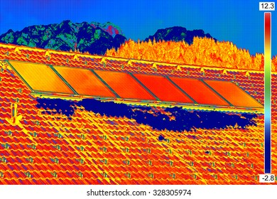 Thermovision image of Photovoltaic Solar Panels on the roof House