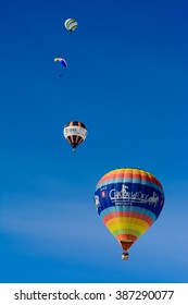 These are balloons from participants and sponsors of the international hot air balloon festival of Chateau D'Oex, a small village in Switzerland. The picture was taken on the 25th of January 2014.