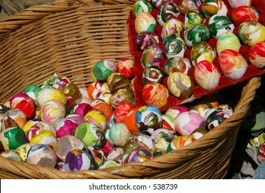 "These are ""cascarones,"" confetti-filled eggs, used for celebration at the Old Spanish Days fiesta in Santa Barbara, California. Can be used to illustrate, ""Don't put all your eggs in one basket."""