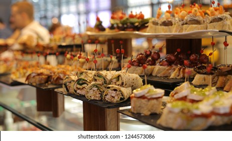 These food is called Pinchos and it was taken in the market called La Ribera, Bilbao, Basque Country, Spain.