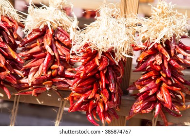 These iconic arrangements of dried red chilies called ristras, hang as decor throughout Santa Fe and are used in cooking as well.