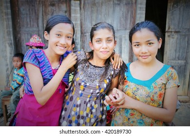 These Nepalese girls live in the earthquake affected area. The earthquake with the magnitude of 7.8 occurred in 16 April 2015. This photo shows took about a week after the earthquake.
