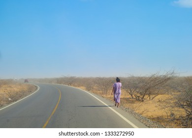 These is the northest part of Colombia it's call La guajira. Is also one a dessertic place and in these place lives somo indegenous comunities. In the photo an indigenous woman is walking back home