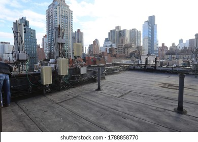 These are photos of a rooftop in New York City.