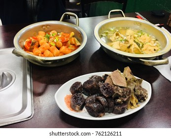 These are popular food is Korea. Korean people love these food. Chip and delicious. These are Tteokbokki which is stir fried rice cake, and Fish cake and sundae which is Korean Sausage.