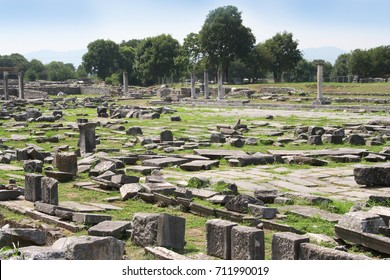 These ruins from Ancient Philippi visited by St. Paul as recorded in Acts 16 of the Bible. Philippi was the location Paul and Silas were imprisoned. Ruins from the Greek and Roman time period.
