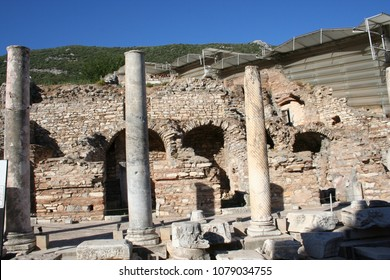 These are shops and terrace homes in historic Ephesus. These shops have beautiful mosaic flooring. St Paul visited, conducted business, and lived in this city as recorded in Acts 18-20.
