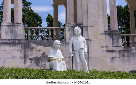These statues in the Sanctuary of Our Lady of Fatima signify the shepherd children who witnessed the apparitions of the Blessed Virgin at Fatima.