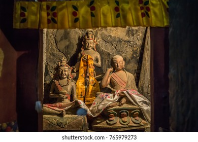 These statues that placed in small cave where Indian master Naropa meditated in 11th century, In front on left is most likely Taktsang Repa and on right Milarepa — at Lamayuru Monastery.