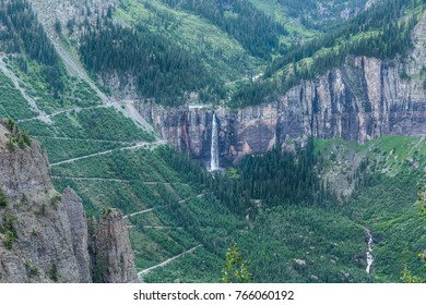 These are the switchbacks that come down Black Bear Pass. The waterfall is Bridal Veil Falls outside Telluride, Co.